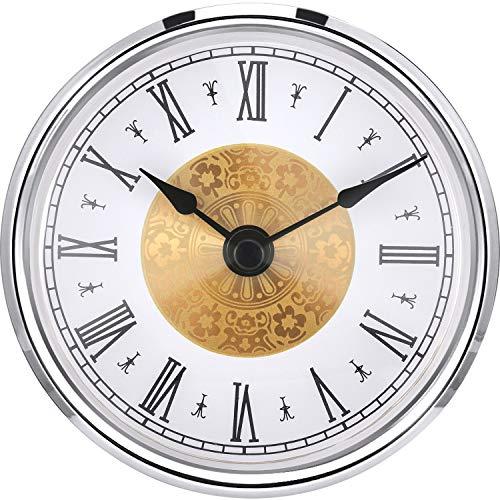 Hicarer 3-1/8 Pollici (80 mm) Inserto di Orologio con Numero Arabo, Movimento al Quarzo, Trim d'Argento