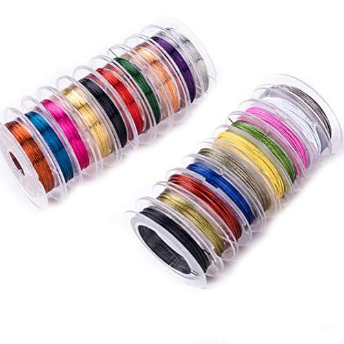 SUPVOX 0,38 millimetri gioielli che bordano il filo di rame per i mestieri che bordano monili che fanno, ogni rotolo di colore uno 10 rotoli 7