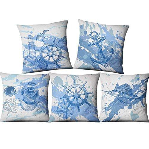 LIUZHI Stile marino americano asiatico/federa di lino/tessuto di casa/cuscino / federa (5 pezzi) 2