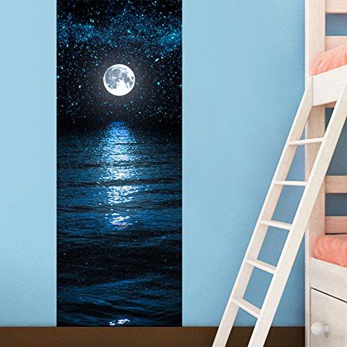 Adesivi per Porte 3D per Decorazione Parete Soggiorno Cucina Camera da letto Bagno Carta da parati 77X200cm (Luna e Stelle)