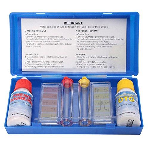 lzndeal – Kit di analisi dell'acqua della piscina – Kit di misurazione del pH e del cloro