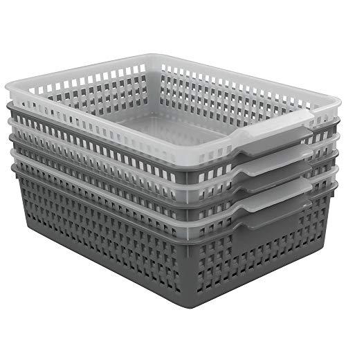 Dynko A4 Cestini Plastica Rettangolari Set di 6, Trasparente e Grigio, Cestino in Plastica 3