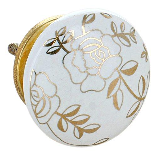 G Decor, set di 8 pomelli rotondi in ceramica, di colore dorato, con finitura screpolata, stile vintage e shabby chic, adatti come maniglie per cassetti 9