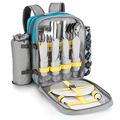 Goods & Gadgets – Zaino da picnic per 4 persone, con coperta da picnic, posate, stoviglie e scomparto refrigerante