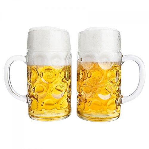 Van Well boccale di birra, Set da 2, 1 litro, con tacchetta, boccale grande con manico, resistente al lavaggio in lavastoviglie, perfetto per la gastronomia