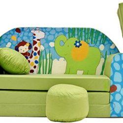 PRO COSMO Z16Bambini Divano Letto futon con Pouf/poggiapiedi/Cuscino, Tessuto, Verde, 168x 98x 60cm