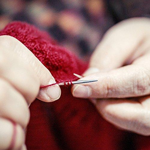 Hysagtek – Set di 22 ferri da maglia a punta singola, in acciaio INOX, con custodia, dimensioni assortite da 2,0 a 8,0 mm (11 paia, 11 misure) 6