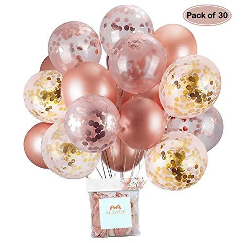 Palloncini in Oro Rosa e coriandoli Palloncini in Lattice Glitterato 30,5 cm per Baby Shower Addio al Nubilato Decorazioni per Feste di Compleanno 30 Pezzi