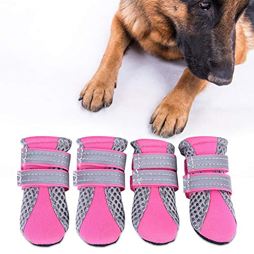 Fdit Scarpe per Cani Scarpe Mesh Traspiranti Pet Antiscivolo Suola Protettiva Daily Soft Puppy Boots per Prevenire Graffi Scorrevoli(Rosa S)