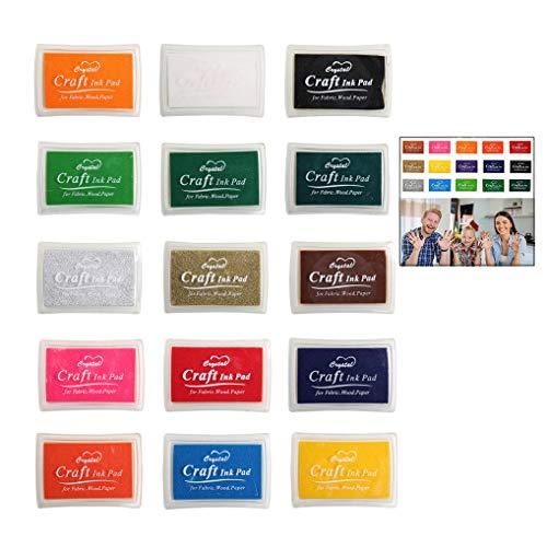 iwobi 15 Colori Tamponi per Timbri Bambini,Tampone di Inchiostro per Carta Artigianale Tessuto,DIY Artistica,Scrapbook,Impronte Digitali 2