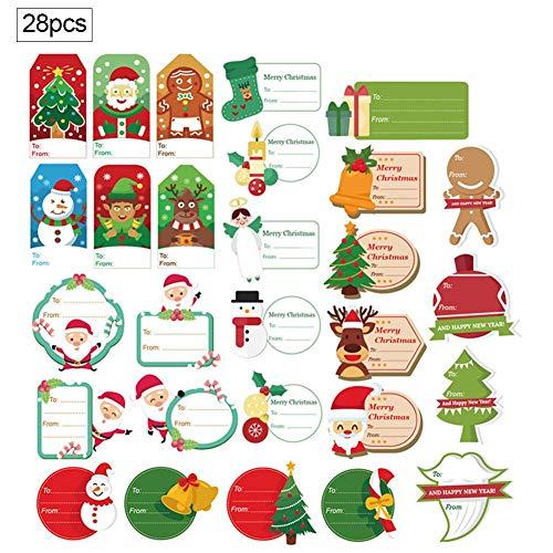 Adesivo per messaggio di Natale, adesivi per etichette regalo autoadesivo di Natale 28PCS Adesivo per messaggio di Natale adesivo confezione regalo Decorazione per feste Perfetto per segnalibri