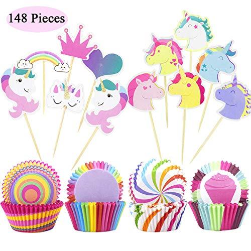 Confezione da 148 pirottini per cupcake, in carta, con decorazioni per torte di compleanno
