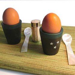 Die schönen Dinge Cucchiaio a Forma di Uovo, Cucchiaio per Bambini, Set da 10, in plastica, Bianco, Blu, Verde, Giallo, Arancione 2