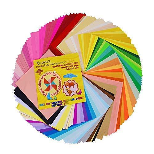Onepine Carta da Origami 200 fogli 50 Colori 80% Colore a due lati 20% Lato singolo per Carta Pieghevole per Bambini,15x15cm 2