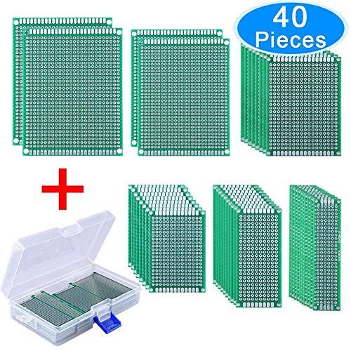 AUSTOR 40 Pezzi Circuito Stampato Millefori Fai da te PCB Board 6 Dimensioni con Free Box per Fai da te Saldatura e Progetto Elettronico 2