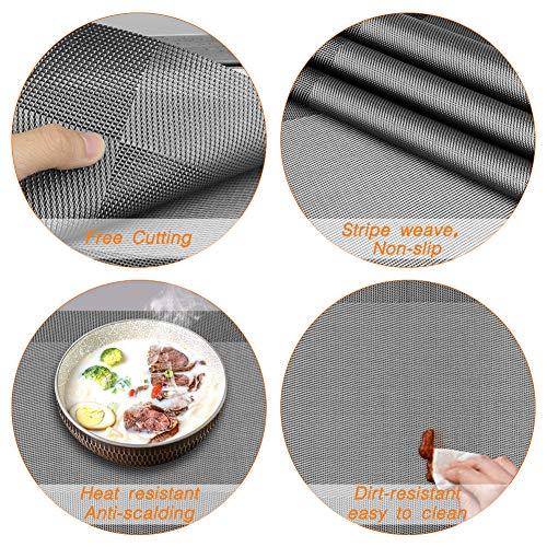Winzwon Tovagliette Americane Lavabili Plastica, Tovagliette Non-scivolose Resistenti al Calore, Set da 6 Tovagliette per Tavolo da Cucina 5