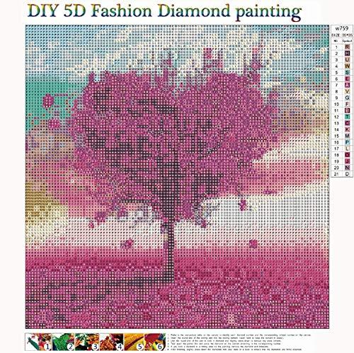 MXJSUA DIY 5D Diamante Pittura Completa Rotonda Kit di Punte Strass Immagine Art Craft per la Decorazione della Parete di casa 35×35 cm Albero di Amore 3