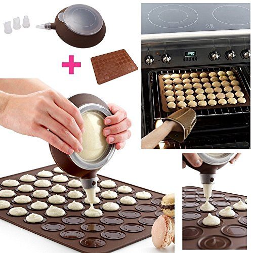 Set Per Macarons: Teglia Tappetino/Stampo in Silicone + 1 Dosatore + 3 Ugelli, Kit per macaroons pasticceria francese by TARGARIAN