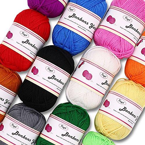 Gomitoli di Lana 600g (12x50g )Fuyit Filato Lana Filati Lana Acrylico 100% per uncinetto e lavori a maglia(12 Colori) 3