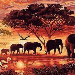 Fuumuui Fai-da-Te Fai-da-Te Pittura a Olio su Tela Regalo per Adulti Bambini dipingere da Numero Kit Decorazioni per la casa -Elefanti del Tramonto 16 * 20 Pollici