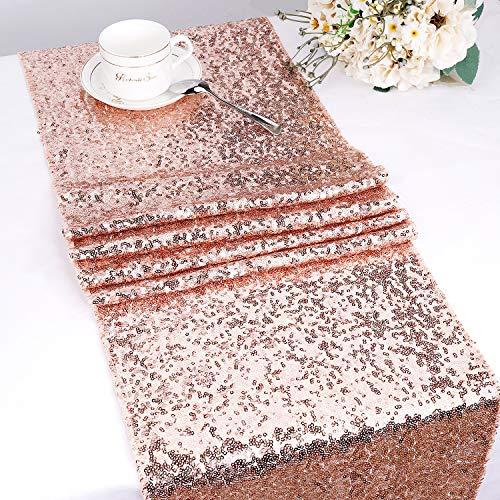 MengH-SHOP Runner da Tavolo con Paillettes Tovaglia Glitter Rettangolare per la Decorazione di Banchetti di Matrimonio Oro Rosa 30 * 280 cm 4