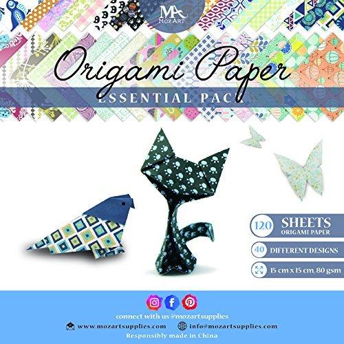 Set carta da origami – 120 fogli – tradizionale piegatura della carta giapponese – la carta include stampe a fiori, animali, azteche, geometriche – MozArt Supplies 2