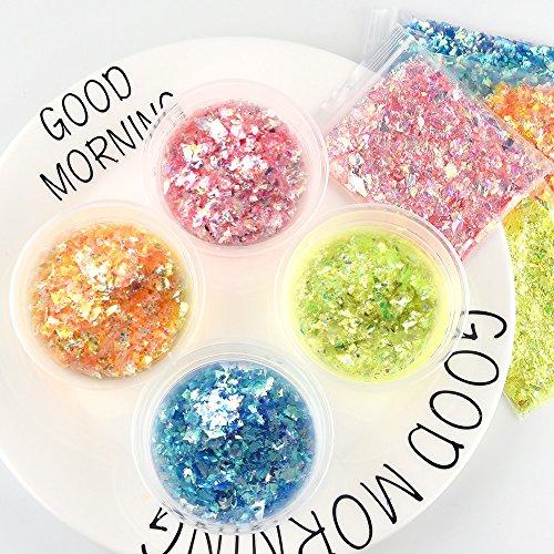 FEPITO 35 pcs Slime Kit per la preparazione fai da te di melma giocattolo, con perline schiacciate, palline di schiuma, glitter, coriandoli, contenitori, utensili per la melma 6