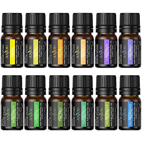 Anjou Olio Essenziale Set di 12 per Aromaterapia, Oli Essenziali Puri Naturali per Diffusore e Massaggi, Ciascuna Lavanda, Albero del Té, Rosmarino, Eucalipto, Limone ecc.
