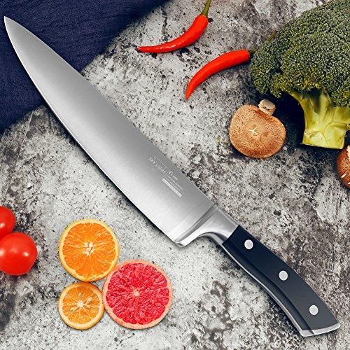 SKY LIGHT Coltello da Cucina Coltelli da Chef Professionale 20 CM German ad Alto Tenore di Carbonio in Acciaio Inox per Tagliare Frutta, Verdura 7