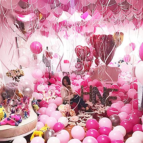MMTX 51PZ Decorazione del Partito di Palloncini Rosa per Ragazze Inclusi Palloncini in Lattice di Colore Rosa, Bianco, Rosa Rosso, Palloncini di Nastro per Compleanno Nozze Festa San Valentino 5