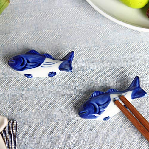 UPKOCH – Supporto creativo per bacchette in ceramica, a forma di pesce, per forchetta, coltello, cucchiaio, supporto per matrimoni, feste, decorazione per la casa e la cucina, 8 pezzi 3