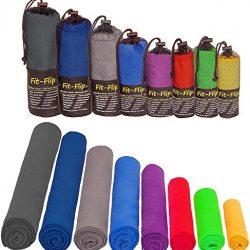 Fit-Flip Asciugamano Microfibra in Tutte Le Taglie / 12 Colori – Piccolo, Leggero e Super Assorbente – Asciugamano Palestra, Asciugamano Bagno, Asciugamani Grande Gym