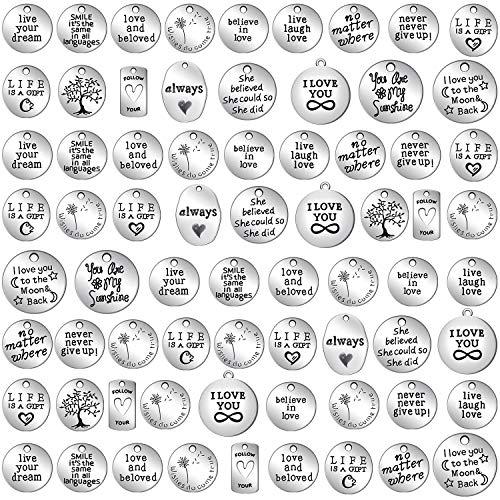 WILLBOND 70 Pezzi Ciondoli Parole Ispirazione Collezioni Charm Ciondolo in Argento Antico Forniture per Gioielli per Braccialetti Fai-da-Te (Collezione Ispirazione) 2