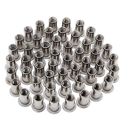 HSeaMall 50PCS Dado per inserti in acciaio inossidabile Dado per inserti Dado a testa piatta Rivetto Nutsert Tappo M6 Tipo (M6 Stainless Steel Rivet Nut 50PCS) 2