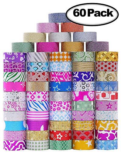 60 rotoli di Washi glitter set di nastri, Washi mascheratura nastri decorativi per decoratori fai da te scrapbooking adesivo scuola / materiale per feste 3
