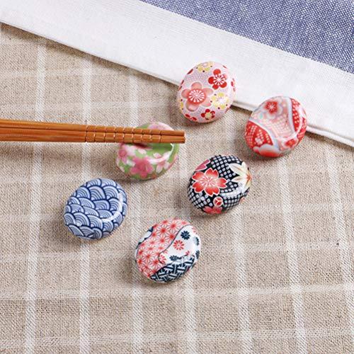 BESTONZON 5 pezzi bacchette di ceramica resto in stile giapponese bacchette Sakura cuscino cucchiaio cucchiaio forchetta coltello (modello casuale) 7