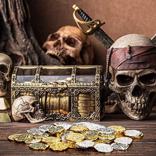 Hicarer Metallo Monete Pirata Spagnolo Doblone Repliche Pirata Tesoro Moneta Giocattoli per Decorazioni Festa Favori (Colore Set 2, 60 Pezzi) 4
