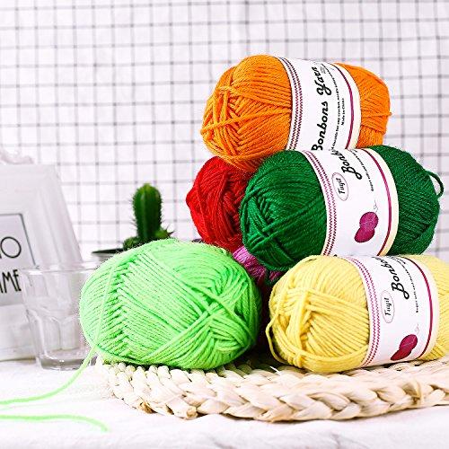 Gomitoli di Lana 600g (12x50g )Fuyit Filato Lana Filati Lana Acrylico 100% per uncinetto e lavori a maglia(12 Colori) 5