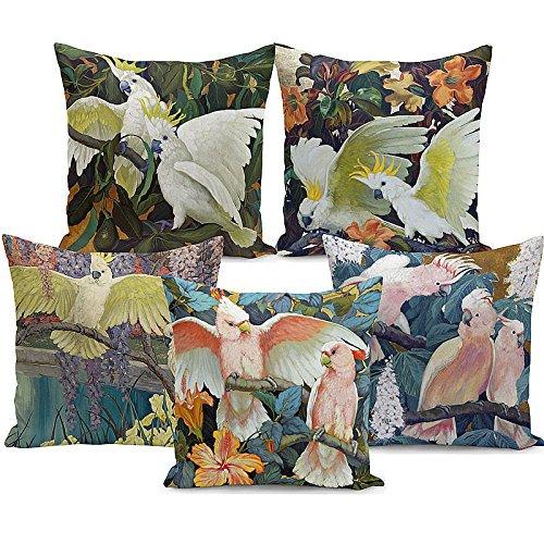 LIUZHI Piante tropicali e animali / pappagalli pesca piselli federa / panno di casa cuscino del divano copertura / cuscino / federa (5 pezzi)