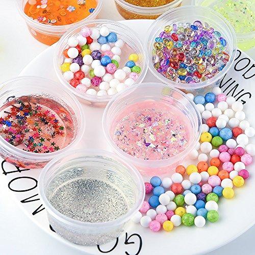 FEPITO 35 pcs Slime Kit per la preparazione fai da te di melma giocattolo, con perline schiacciate, palline di schiuma, glitter, coriandoli, contenitori, utensili per la melma 7