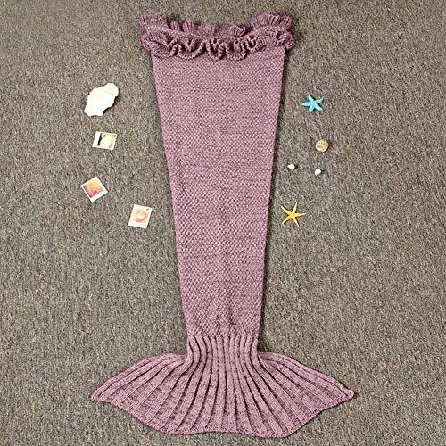 Jr.Hagrid Coperta per Coda a Sirena per Bambina, Sacco a Pelo per Sirena per Bambini, Coperta per Coda a Sirena Lavorata a Maglia a Mano, Regalo di Compleanno per Ragazza 3-8 Anni(Rosa Scuro) 3