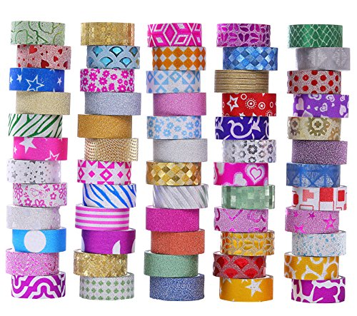 60 rotoli di Washi glitter set di nastri, Washi mascheratura nastri decorativi per decoratori fai da te scrapbooking adesivo scuola / materiale per feste