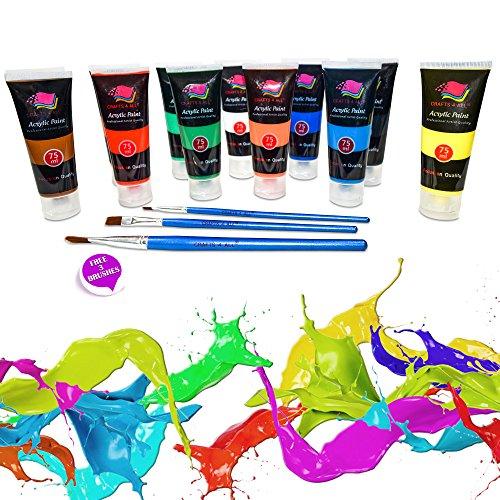 Crafts 4 All – Pittura acrilica professionale, set da colori acrilici XL (75 ml), kit per pittura su tela, legno, argilla, tessuto, unghie, ceramica e artigianato. Per studenti e professionisti 3