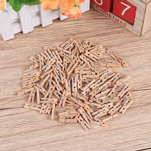 Pixnor Mollette legno con primavera, 100-Pack, 0,98-pollici di lunghezza 8