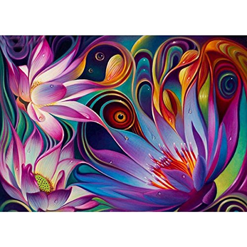 5D Diamond Painting kit completo drill DIY strass ricamo a punto croce Craft Arts for home Wall Decor Colorful Lotus 30x 40cm,pittura diamante diy