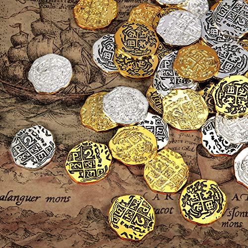 Hicarer Metallo Monete Pirata Spagnolo Doblone Repliche Pirata Tesoro Moneta Giocattoli per Decorazioni Festa Favori (Colore Set 2, 60 Pezzi)