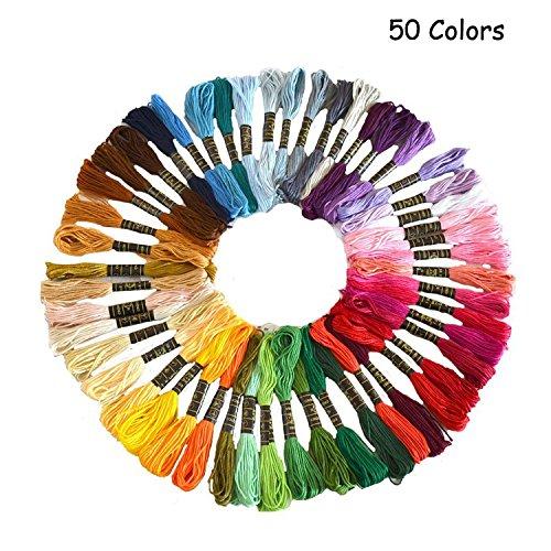 Punto Croce Kit, Wartoon Multicolore Cotone Fili da Ricamo per Punto a Croce(50 pezzi ) 5