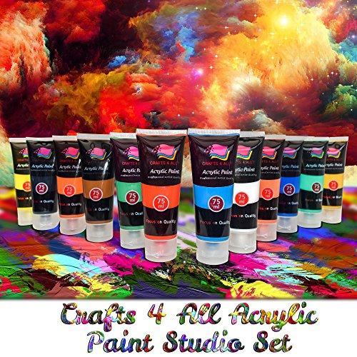 Crafts 4 All – Pittura acrilica professionale, set da colori acrilici XL (75 ml), kit per pittura su tela, legno, argilla, tessuto, unghie, ceramica e artigianato. Per studenti e professionisti 5