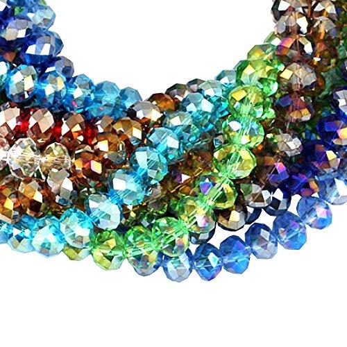 PandaHall-Perline di Vetro Placcato, Colore Misto, Colore AB Placcato, Sfaccattato,8mm di Diametro, 6mm di Spessore, Foro: 1mm, Circa 72pcs/Filo