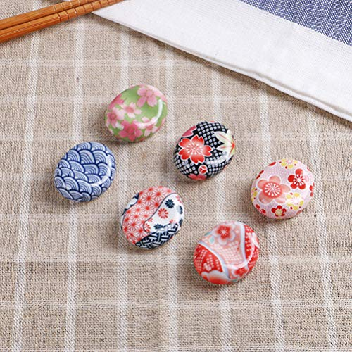 BESTONZON 5 pezzi bacchette di ceramica resto in stile giapponese bacchette Sakura cuscino cucchiaio cucchiaio forchetta coltello (modello casuale) 4